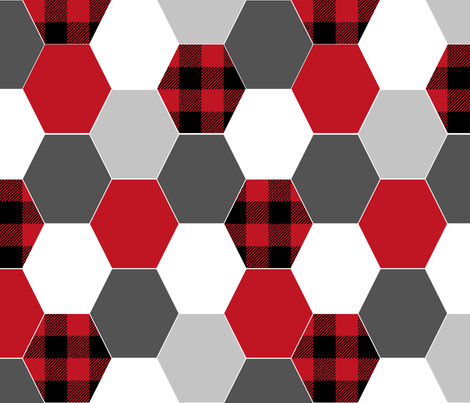 hexagon cheater quilt buffalo plaid black and red grey charcoal kids nursery baby crib sheet fabric by charlottewinter on Spoonflower - custom fabric