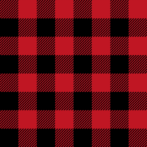 buffalo plaid black and red kids cute nursery hunting outdoors camping red and black plaid checks fabric by charlottewinter on Spoonflower - custom fabric