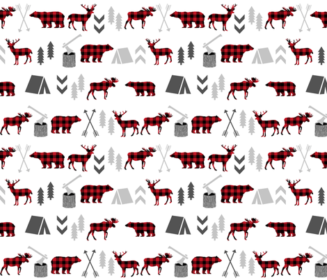 buffalo plaid woodland moose deer bear forest woodland trees camping canada kids fabric by charlottewinter on Spoonflower - custom fabric