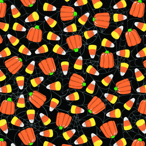 Candy Pumpkins & Candy Corn on Spider Webs fabric by tabpin on Spoonflower - custom fabric