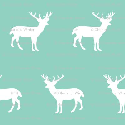 deer silhouette green christmas xmas holiday christmas deer woodland  mint baby cute christmas