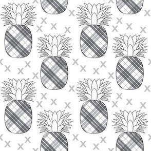 plaid pineaples on white