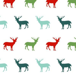 deer silhouette green christmas xmas holiday christmas deer woodland  red and green christmas colors