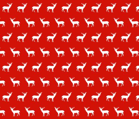 deer silhouette red christmas xmas holiday christmas deer woodland  fabric by charlottewinter on Spoonflower - custom fabric