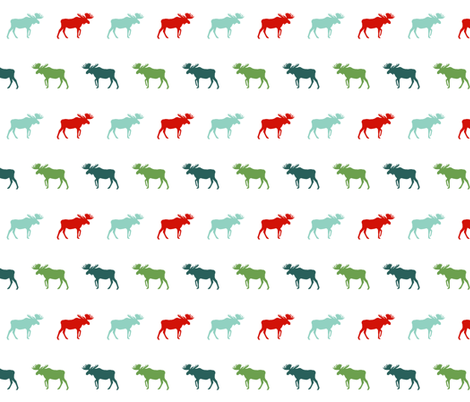 moose green and red christmas moose silhouette simple baby nursery christmas fabric by charlottewinter on Spoonflower - custom fabric