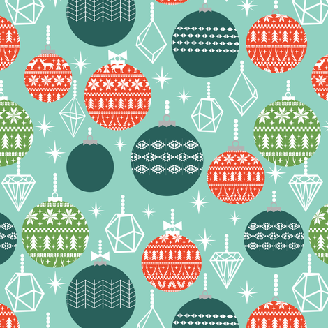 ornaments christmas ornament holiday winter christmas mint kids cute holiday fabric by charlottewinter on Spoonflower - custom fabric