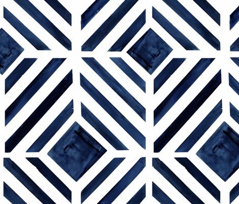 geo stripe indigo fabric by crystal_walen on Spoonflower - custom fabric