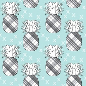 plaid pineaples on blue