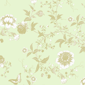 The Dowager's Chinese Room pale gold on basil