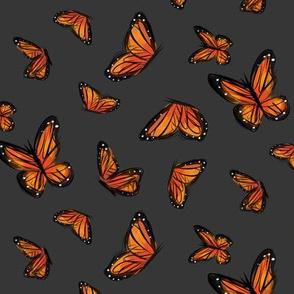 Watercolor Monarchs on Gray