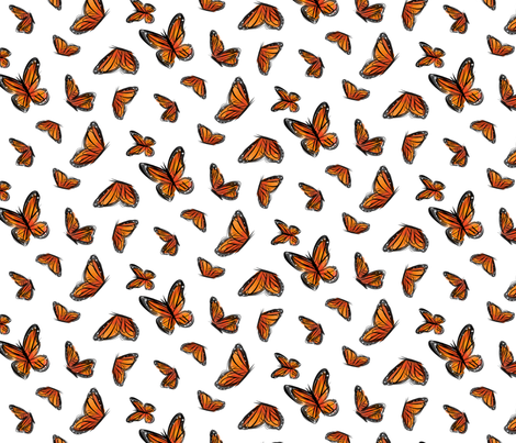 Watercolor Monarchs fabric by sunnytime on Spoonflower - custom fabric