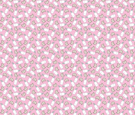 Cookies and Milk Pink (extra small scale) fabric by sylviaoh on Spoonflower - custom fabric