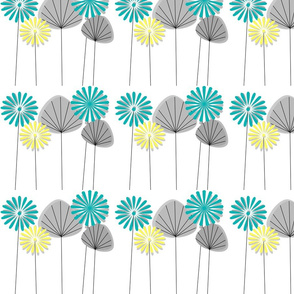Mid-Century Flowers Teal and Yellow