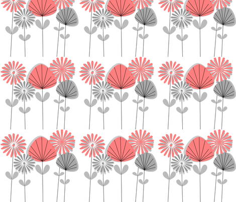 Mid-Century Flowers Salmon Pink fabric by gigirn46@aim_com on Spoonflower - custom fabric