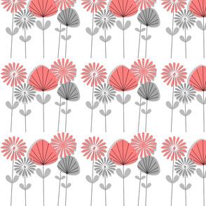 Mid-Century Flowers Salmon Pink