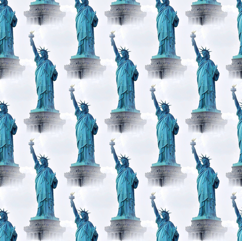 statue of liberty in blue  fabric by stofftoy on Spoonflower - custom fabric