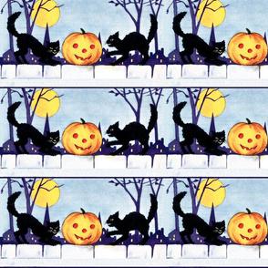 Halloween black cats night moon trees jack lanterns bumpkins houses fences vintage retro kitsch