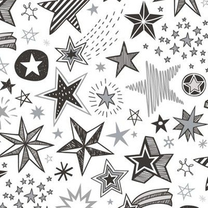 Stars Doodle Black & White Winter Christmas