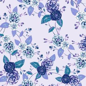 Roses Chinoserie Indigo Purple