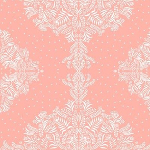 Jungle Flora Damask v2, Melon Pink