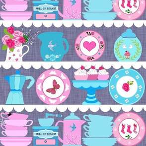 vintage kitchen // Tea time or coffee time// Retro kitchen//  Christmas coffee // tea Pink and blue  kitchen shelves