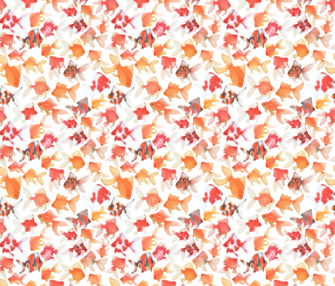 Small Scale Watercolor Goldfish fabric by mygiantstrawberry on Spoonflower - custom fabric