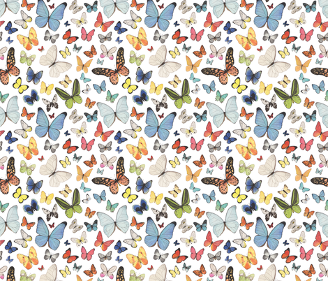 Small Scale Watercolor Butterflies fabric by mygiantstrawberry on Spoonflower - custom fabric