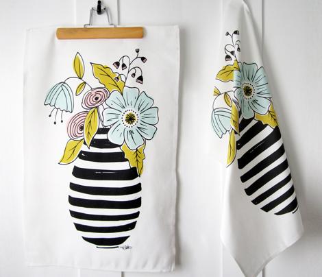 Summer Floral Vase Tea Towel - White