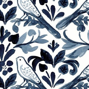 Painted Blue Birds Indigo