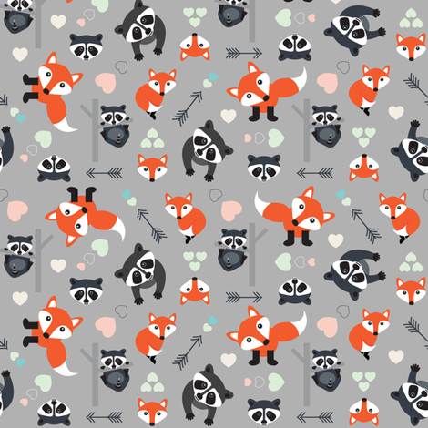 Foxy Racoon New Love fabric by beverley_glanville on Spoonflower - custom fabric