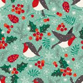Christmas birds in snow