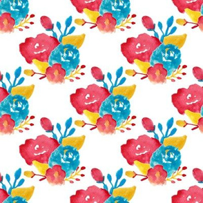 red blue yellow primary watercolor floral - southwestern