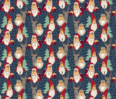 Cartoon Santa Vintage Styles fabric by bloomingwyldeiris on Spoonflower - custom fabric