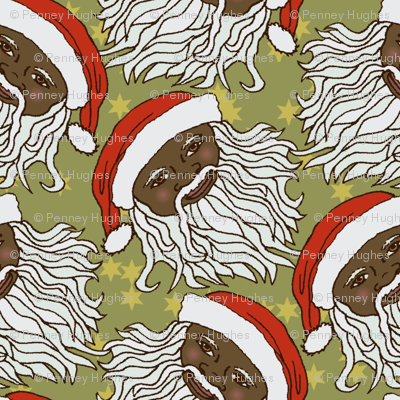 Cartoon Black Santa Head on Green and Stars