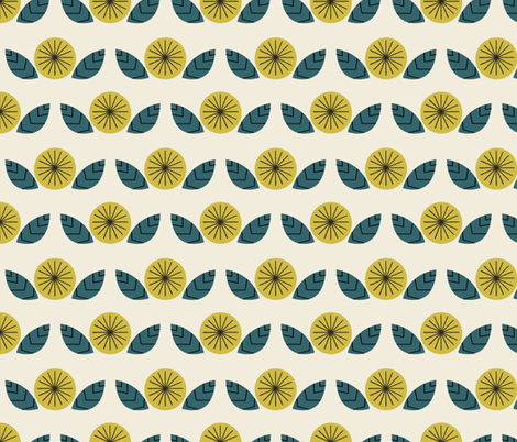 Mod Flower in Cream fabric by mintgreensewingmachine on Spoonflower - custom fabric