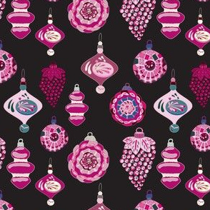 Retro Cranberry Ornaments Christmas Holiday _ Miss Chiff Designs