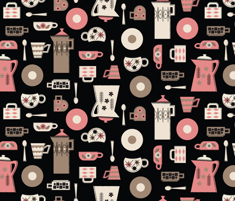 Coffee Time in Black fabric by mintgreensewingmachine on Spoonflower - custom fabric