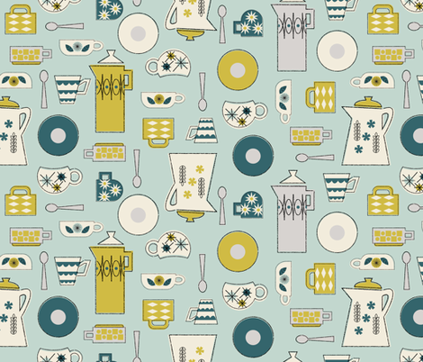 Coffee Time in Mint fabric by mintgreensewingmachine on Spoonflower - custom fabric