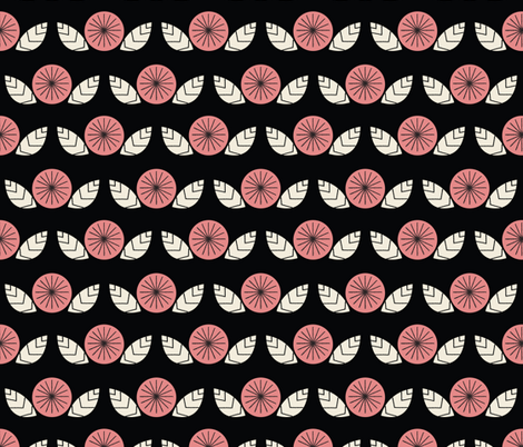 Mod Flowers in Black fabric by mintgreensewingmachine on Spoonflower - custom fabric