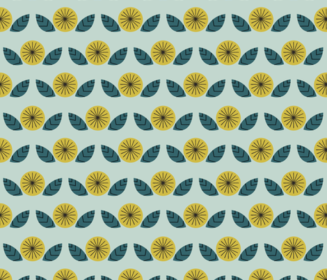 Mod Flowers in Mint fabric by mintgreensewingmachine on Spoonflower - custom fabric