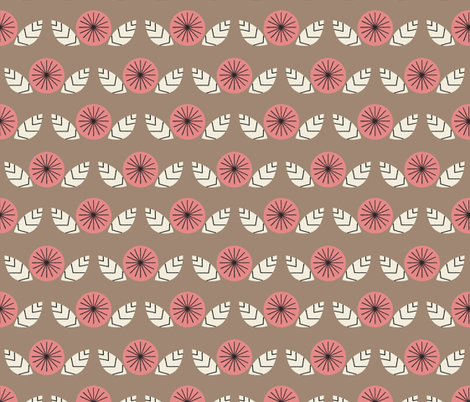 Mod Flowers in Brown fabric by mintgreensewingmachine on Spoonflower - custom fabric