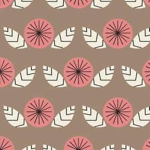 Mod Flowers in Brown