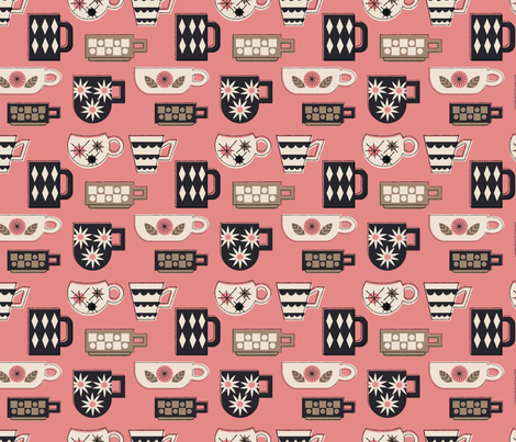 Coffee Mugs in Pink fabric by mintgreensewingmachine on Spoonflower - custom fabric
