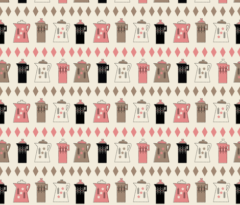 Coffee Pots in Cream fabric by mintgreensewingmachine on Spoonflower - custom fabric