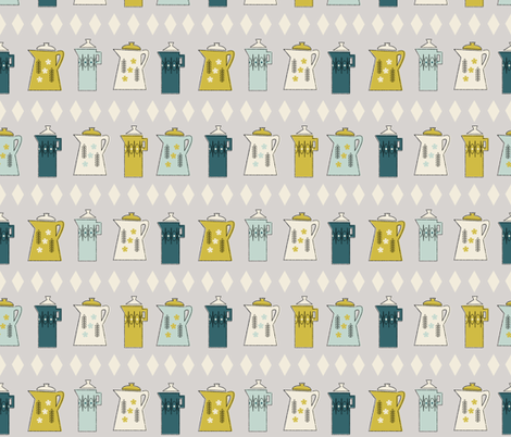Coffee Pots in Gray fabric by mintgreensewingmachine on Spoonflower - custom fabric