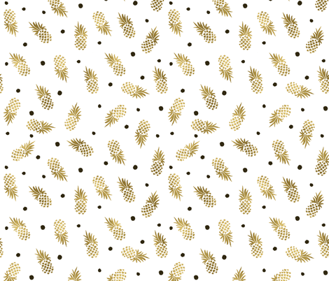Gold Pineapple Dots fabric by crystal_walen on Spoonflower - custom fabric