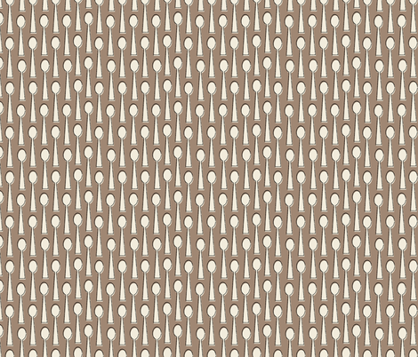 Spoons in brown fabric by mintgreensewingmachine on Spoonflower - custom fabric
