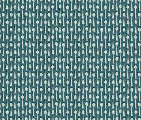 Spoons in Teal fabric by mintgreensewingmachine on Spoonflower - custom fabric
