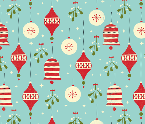 Ornaments and Mistletoe fabric by olive+me_studios on Spoonflower - custom fabric