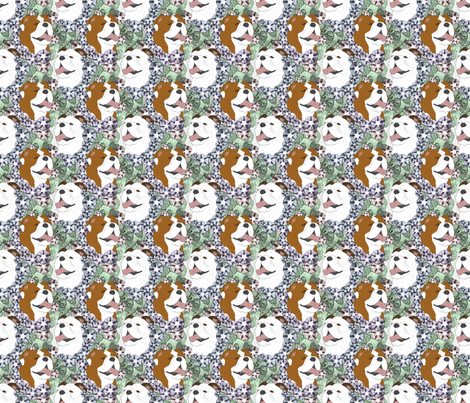 Floral Bulldog portraits - small fabric by rusticcorgi on Spoonflower - custom fabric